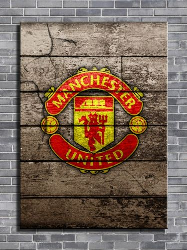 ART - MANCHESTER UNITED Wood look art - canvas print - self adhesive poster - photo print